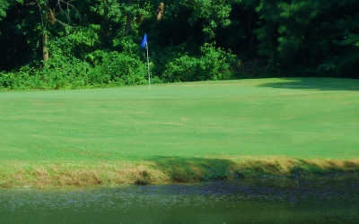 A view over the water of a green at Pine Hills Golf Club