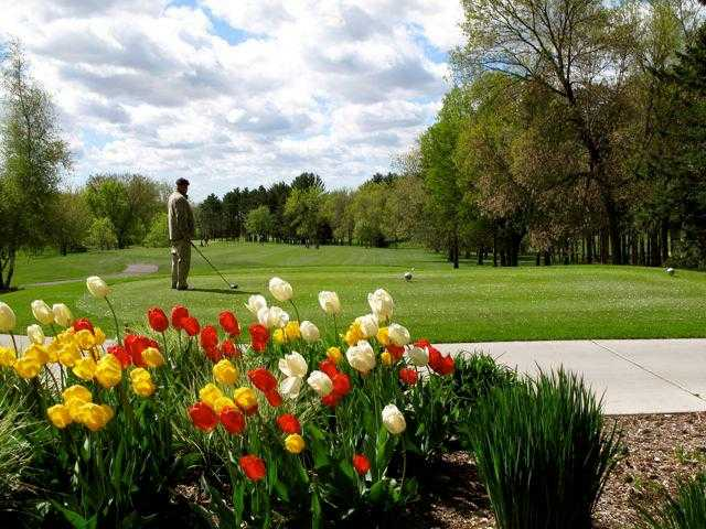 A fresh spring view of a tee at Elkhorn Valley Golf Course