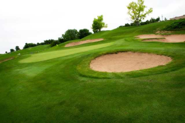 A view of green #7 surrounded by bunkers at Heritage Hills Golf Course