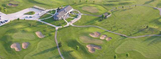 Aerial view of the clubhouse at Railside Golf Club