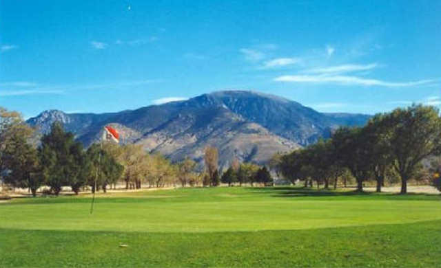 A view of green #3 at Walker Lake Golf Course.