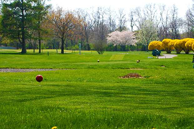 A spring view from a tee at Island's End Golf & Country Club