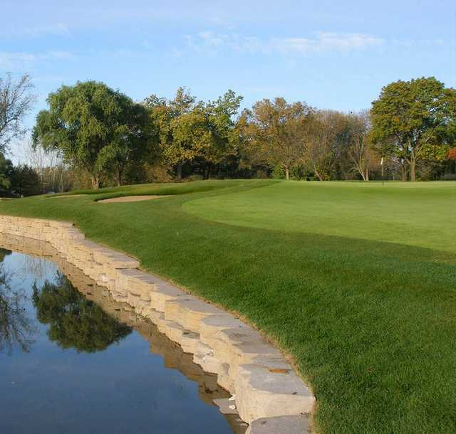 A view of hole #15 at the Bridges at Poplar Creek Country Club