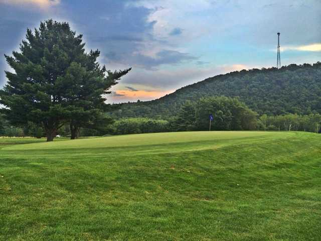 A view of the 12th green at Down River Golf Course