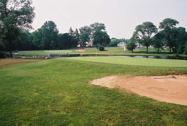 A view of a green with water coming into play at Skippack Golf Course