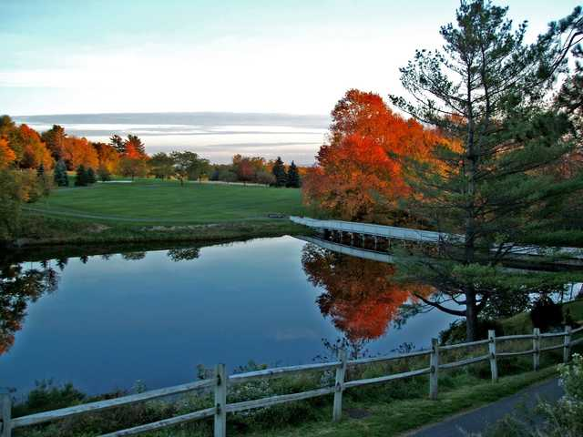 A fall view of the 10th fairway at Poconos Golf Course from Skytop Lodge