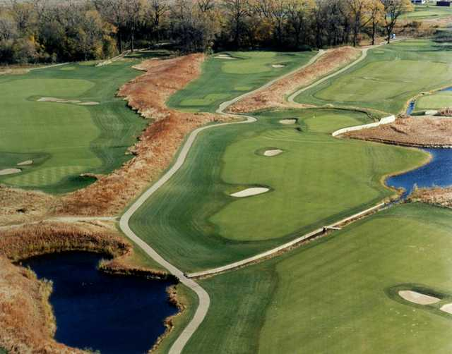 Aerial view of hole #10, #13, #14 and #15 at Gateway National Golf Links