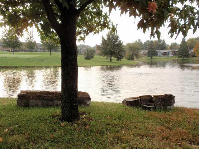 A view over a lake at John Knox Village Golf Course