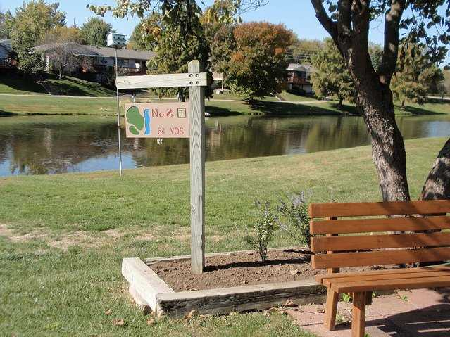 A view of tee #8 sign at John Knox Village Golf Course