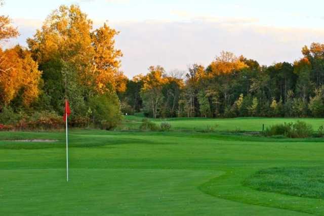 A fall view of a hole at Broad Run Golf & Practice Facility