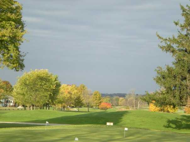A view of hole #18 at The Rail Golf Club