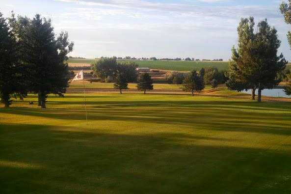 A view of the 9th green at Wheatland Golf Club