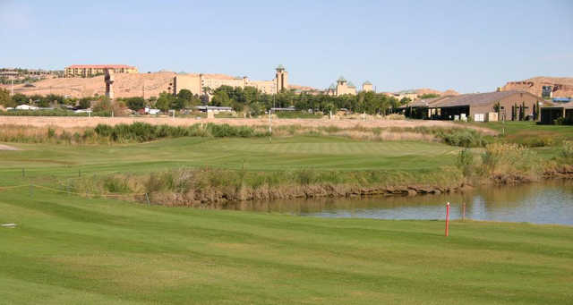 A view of a green with water coming into play at Coyote Willows Golf Club.