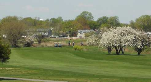 A view of a fairway at Bergen Point Golf Club