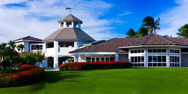 A view of the clubhouse at Kings' Course from Waikoloa Beach Resort