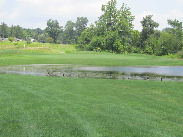 A view of a green at Indian Run Golf Club