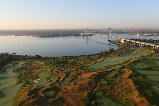 Aerial view of the Trump Golf Links at Ferry Point