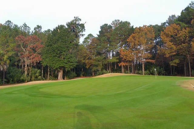 A view of a green at Dunes West Golf Club