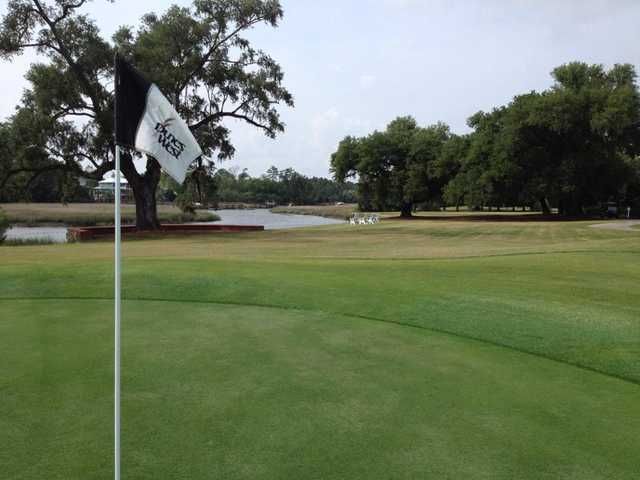 A view from a green at Dunes West Golf Club