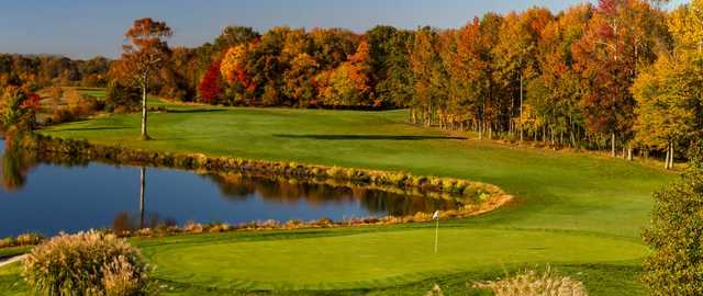 A fall view of hole #17 at West from Mercer Oaks Golf Course.