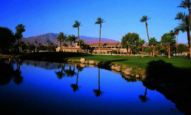 A view of the clubhouse at Indian Palms Golf & Country Club