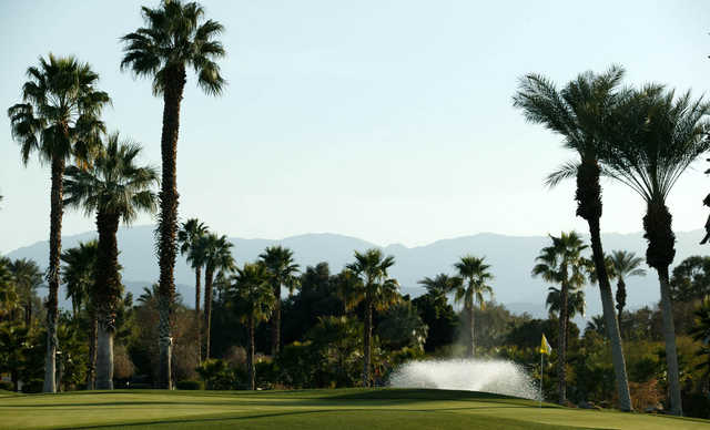 A view of a hole at Indian Palms Golf & Country Club
