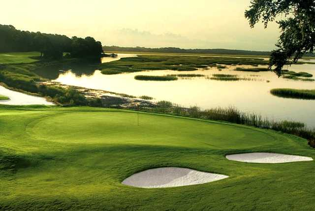 A view of the 18th green at Cotton Dike from Dataw Island Golf Course