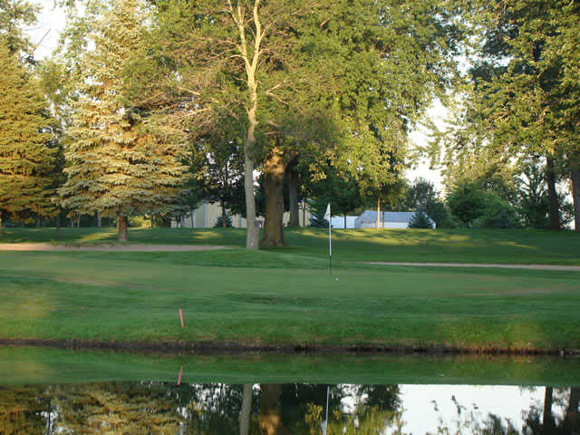 A view of green #3 with water coming into play at Luverne Country Club