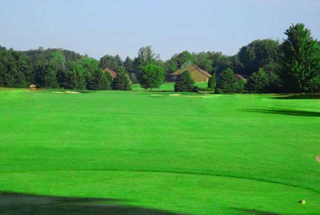 A view of hole #1 at Crystal Lake Golf Club.