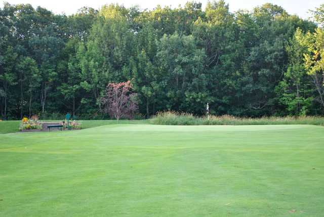 A view of the 2nd green at Twin Oaks Country Club