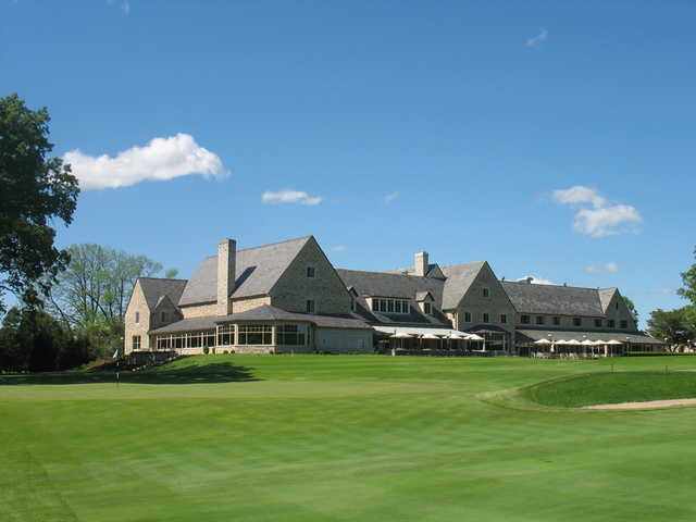 A view of the 9th hole and the clubhouse in background at Blue Mound Golf & Country Club.