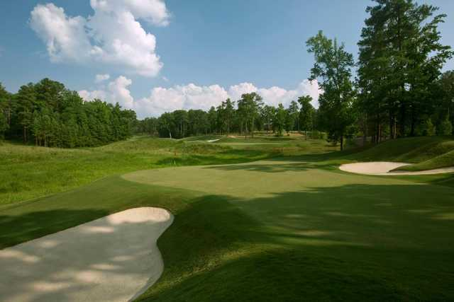 A view of a hole flanked by bunkers at Cobblestone Park Golf Club