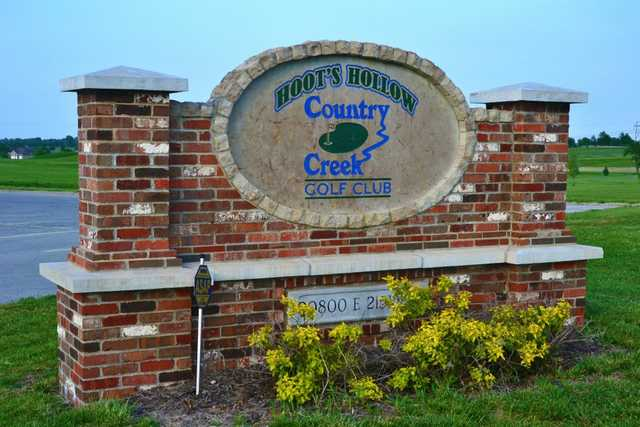 A view of the entrance sign from Hoot's Hollow at Country Creek Golf Club