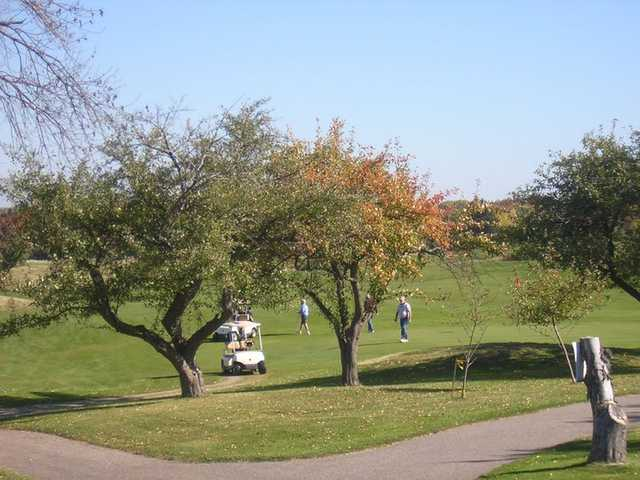 A view of the 2nd hole between the apple trees at Wicker Hills Golf Course