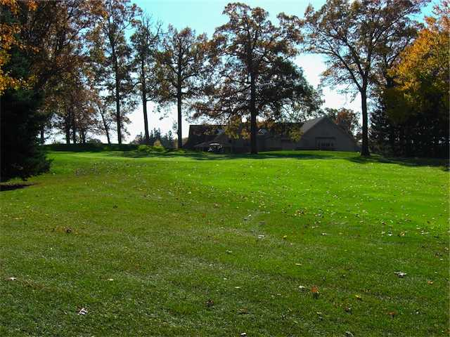 A view from Dunham Hills Golf Club with the clubhouse in background