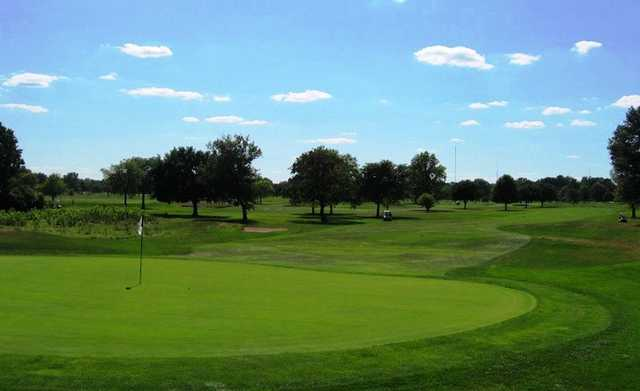 A view of green #14 at Rackham Golf Course