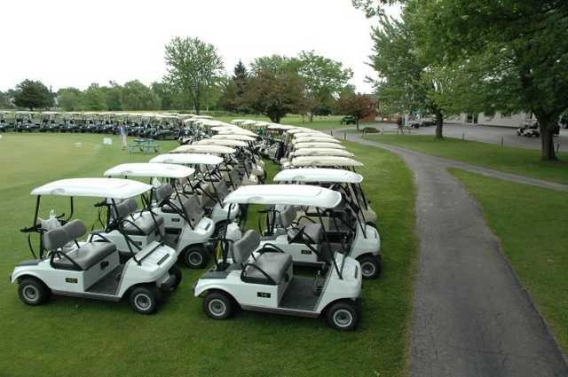 A view of the cart fleet at Royal Scot Golf Course