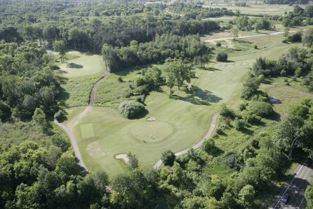Aerial view of holes #12 and #13 at College Fields Golf Club