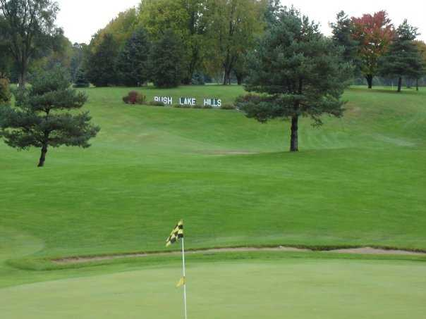 A view of green #18 from the clubhouse at Rush Lake Hills