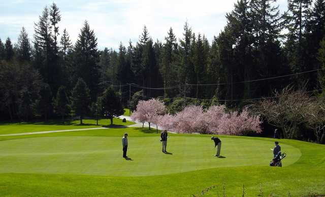 A spring view of green #18 at Sunshine Coast Golf and Country Club