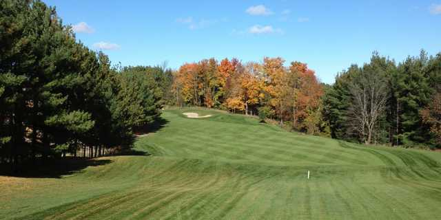 A fall view of a fairway at Legacy Pines Golf Club