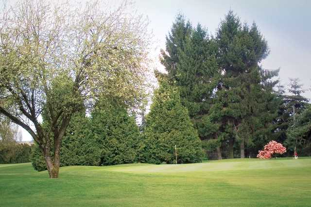 A view of a green at Green Acres Golf Course