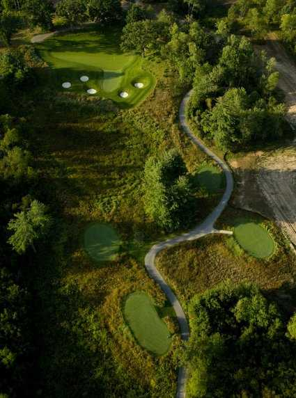 Aerial view of the #12 green at Tullymore Golf Club