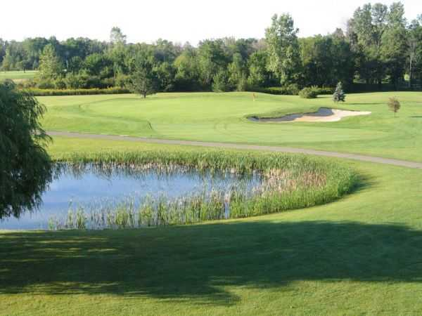 A view over a pond at Riverview Highlands Golf Course