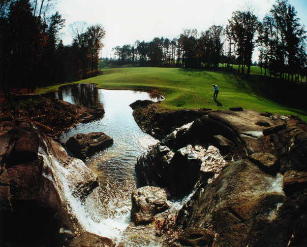 Green surrounded by water at Chateau Elan Golf Club - Chateau Elan
