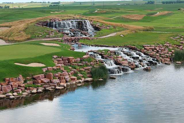 View of the finishing hole and waterfall at Grand Falls Casino & Golf Resort