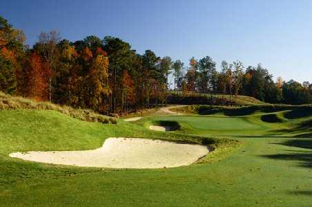 An autumn view of green at Lanier Islands Legacy Golf Course