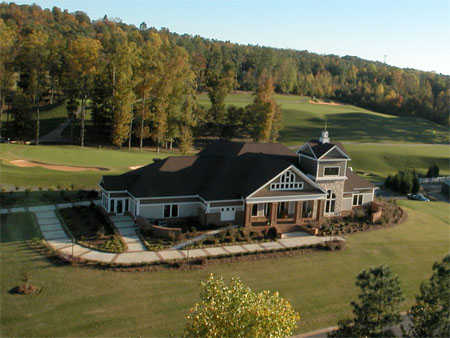 Aerial view of the clubhouse at Oak Mountain Championship Golf Course