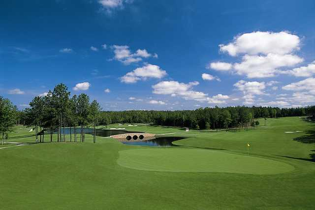 View of the par-4 5th hole from the Vintage Course at Mount Vintage Plantation Golf Club