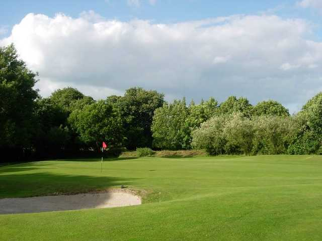 A view of a green protected by a bunker at Stepaside Golf Course